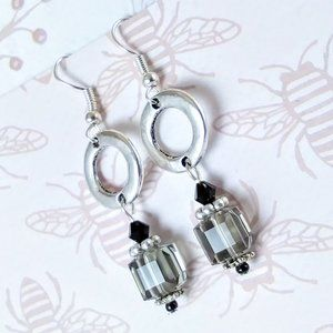 Swarovski Cube Crystals Circle Silver Earrings